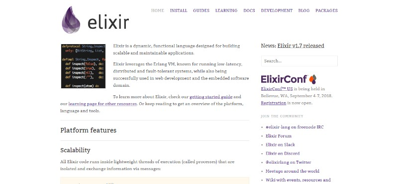 web development technologies programming languages Elixir