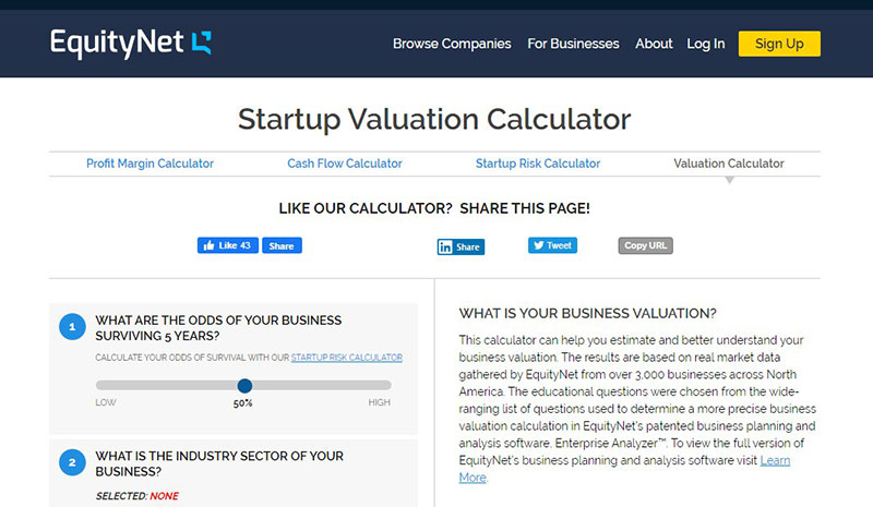 Startup Valuation Calculator by equity net