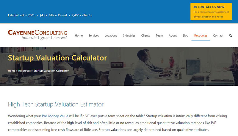 High Tech Startup Valuation Estimator by caycon.