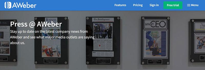 AWeber– diversified startup press kit example